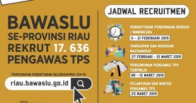 Bawaslu Provinsi Riau Merekrut Sebanyak 17.636 Pengawas TPS Pemilu 2019